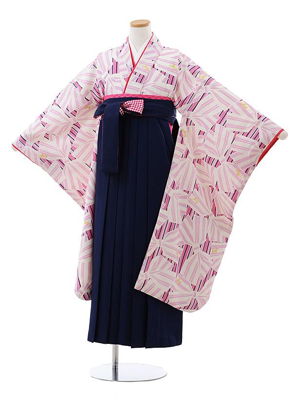 小学生卒業式袴レンタル(女の子) Z142 メゾピアノ ピンク リボンx紺袴