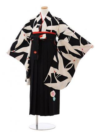卒業袴レンタル Z156 黒地 鶴 x 黒袴