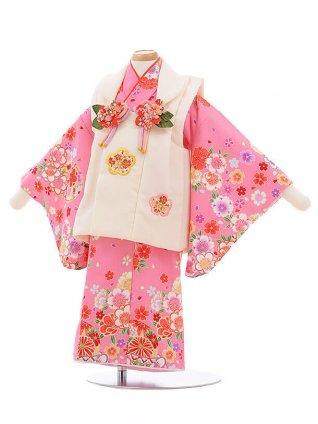 女児ベビー着物 0028 白×ピンク まり 梅桜/セハ