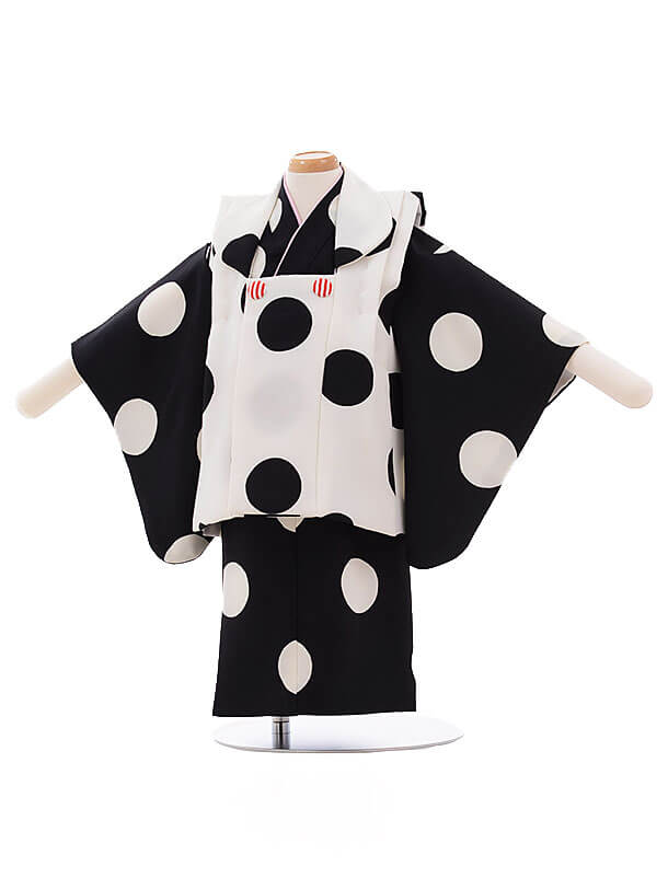女児ベビー着物 0030 白黒 ドット セパレート