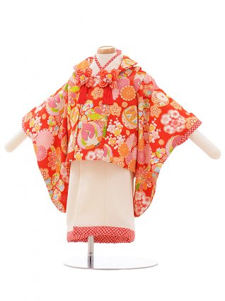 女児ベビー着物 0034 ジャパンスタイル 赤×白 セパレート