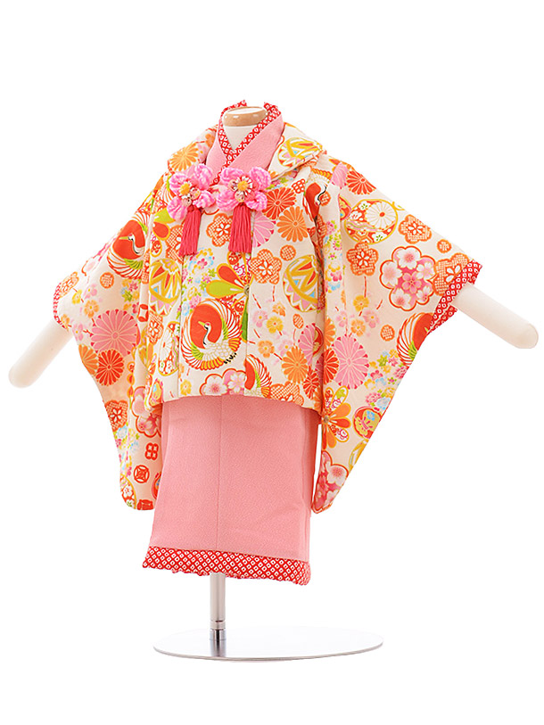 女児ベビー着物 0035 ジャパンスタイル クリーム×ピンク セパレート