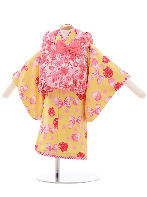 女児ベビー着物 0036 メゾピアノ 白地 バラ×黄色 ドット リボン