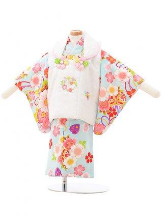 女児ベビー着物 0071  白地花刺繍×水色まり セパレート