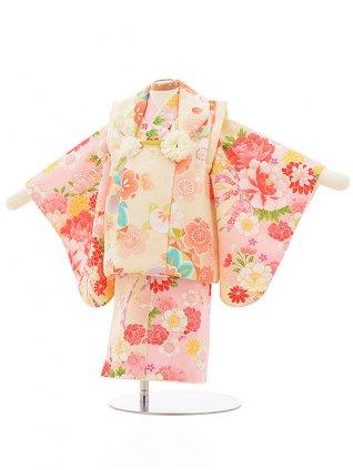女児【1歳前後】0083 クリーム色x うすピンク花
