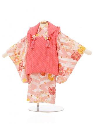 女児【1歳前後】0084 ピンクxうすピンク 白地花
