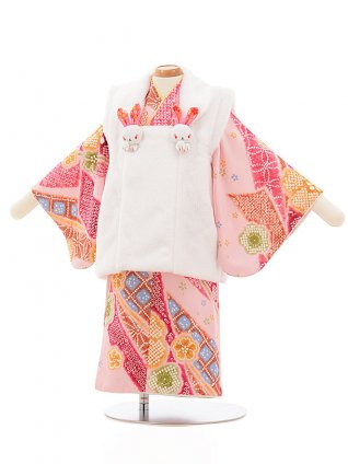 女児【1歳前後】0086 白xピンク のし梅
