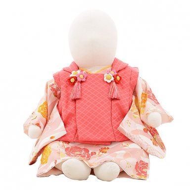 女児【100日~1歳用】0087 ピンク x うすピンク 白地花