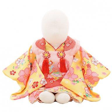女児【100日~1歳用】0089 ピンク赤ぼかし