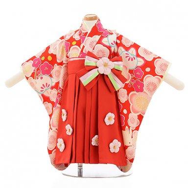 女児【1歳前後】0093 JAPAN STYLE 赤地 梅 x 赤袴