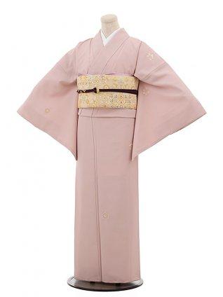 小紋レンタル772 うすピンク地 刺繍 花紋 亀甲