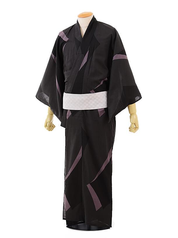 男性浴衣0027 黒ピンストライプ(M)