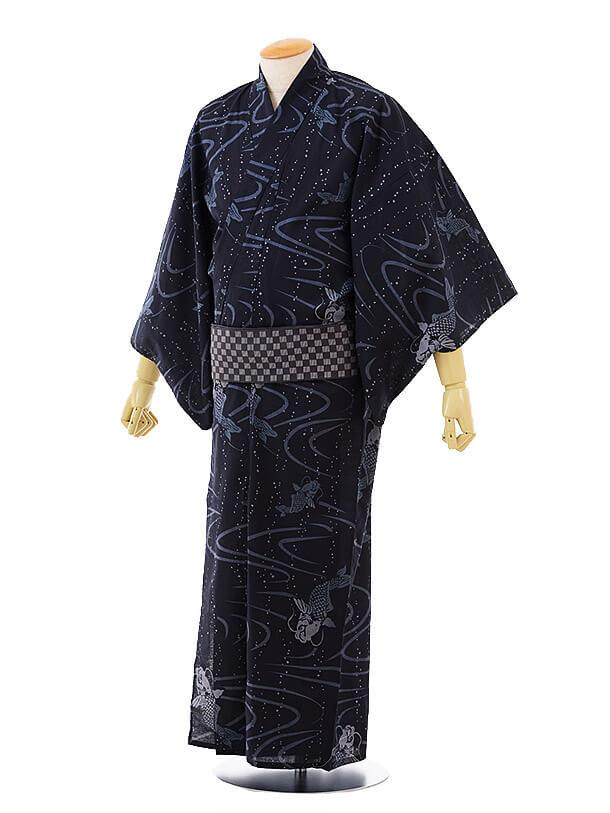 男性浴衣0028 紺地水面鯉(M)