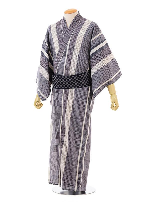 男性浴衣0030 グレーストライプ(M)
