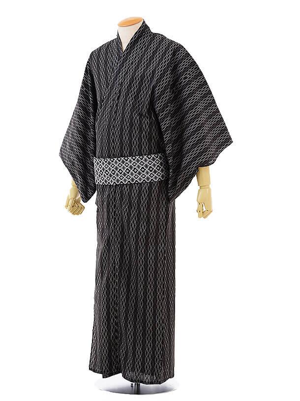 男性浴衣0031 黒パープル変わりストライプ(L)
