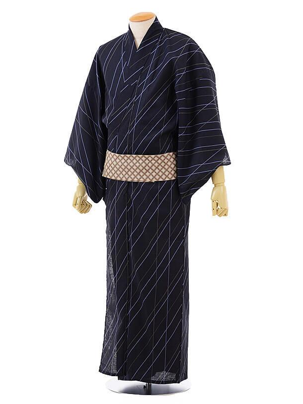 男性浴衣0032 紺地斜めストライプ(L)
