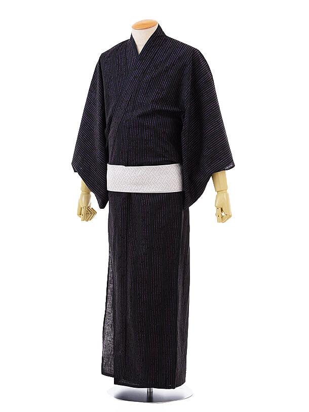 男性浴衣0034 黒パープル変わりストライプ(L)
