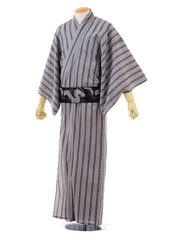 男性浴衣0035 グレー白変わりストライプ(LL)