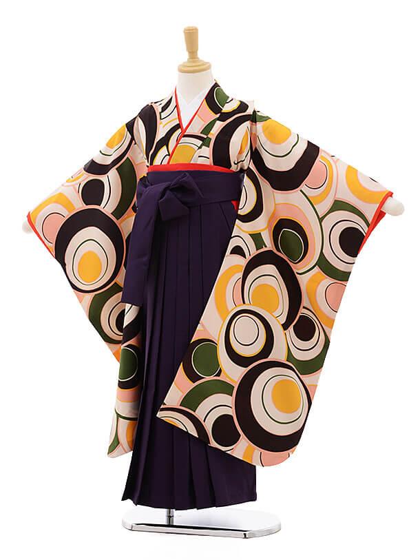 七五三(7歳女袴)7556 クリーム色 丸柄×パープル袴
