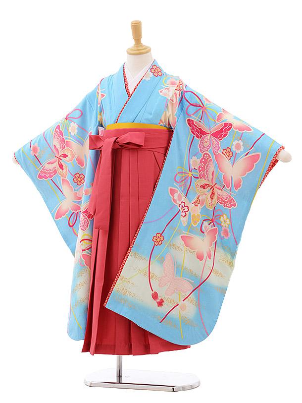 女児袴レンタル(7歳)7637 水色 蝶々×ピンク袴