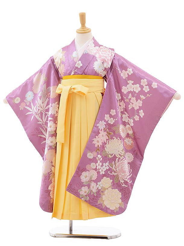 女児袴(7歳)7639 cotocomachi パープル花×イエロー袴