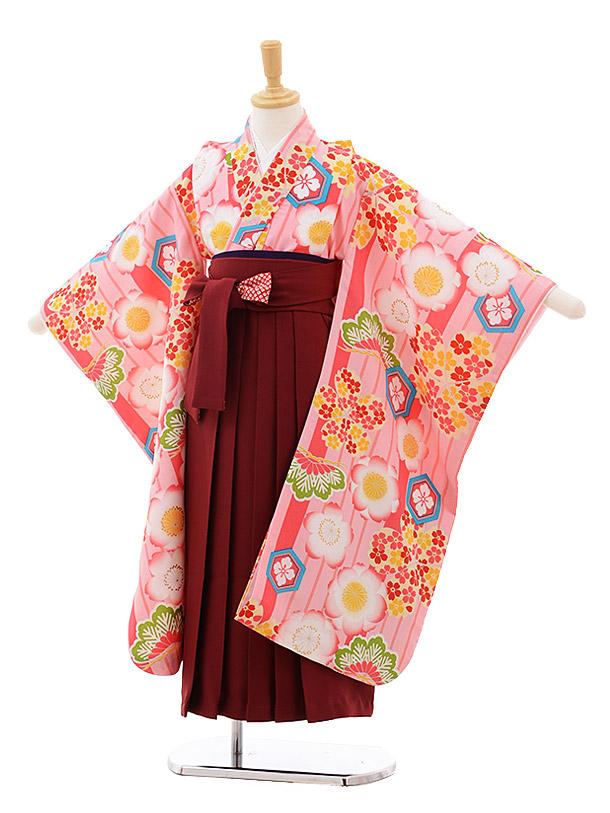 女児袴レンタル(7歳)7645 小町kids ピンク地 桜×エンジ袴
