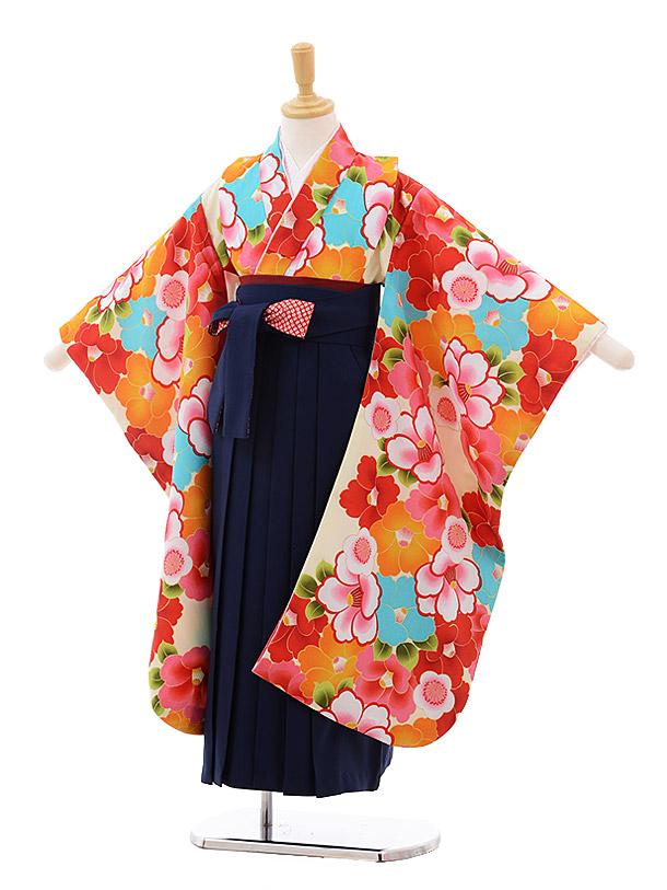 女児袴レンタル(7歳)7648 小町kids クリーム地 椿×紺袴