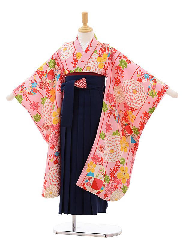 女児袴レンタル(7歳)7649 小町kids ピンク地 まり×紺袴