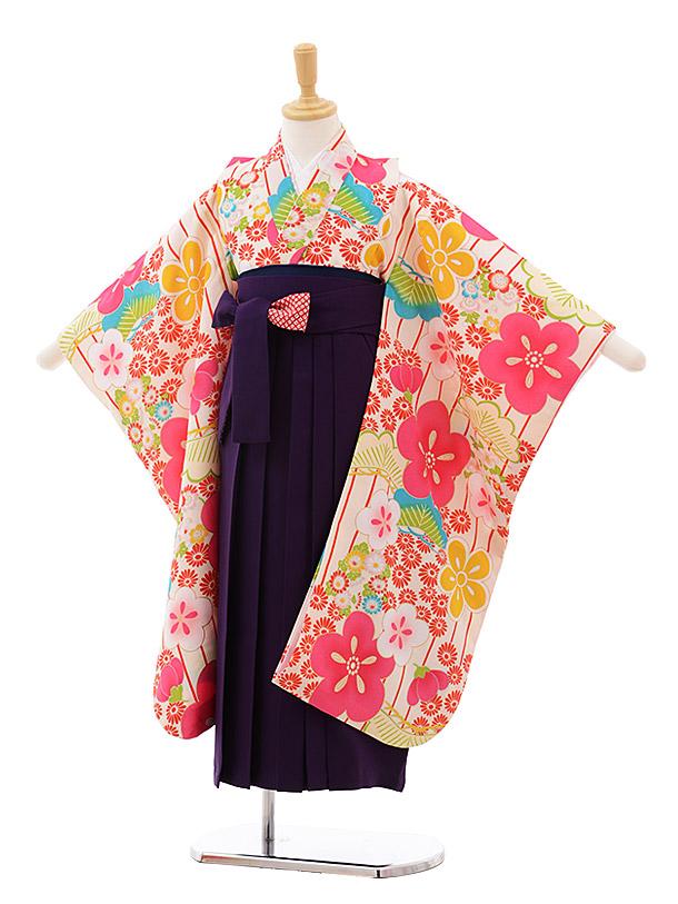 女児袴レンタル(7歳)7650 小町kids 白地 梅×パープル袴