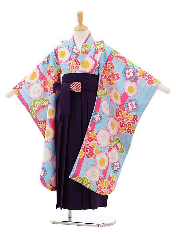 女児袴レンタル(7歳)7651 小町kids 水色 桜×パープル袴