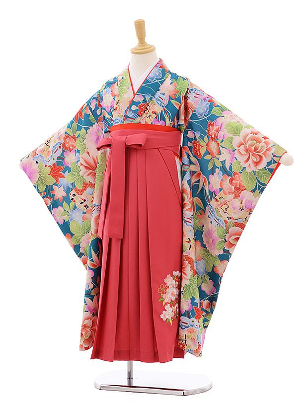 女児袴(7歳)7673 グリーン地 ぼたん×ピンク袴 着物のみ式部クラシック