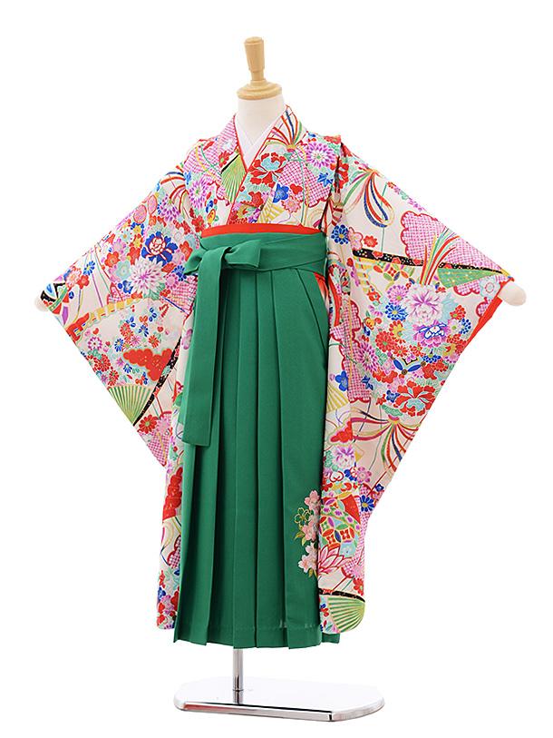 女児袴レンタル(7歳)7674 白地 古典×グリーン袴