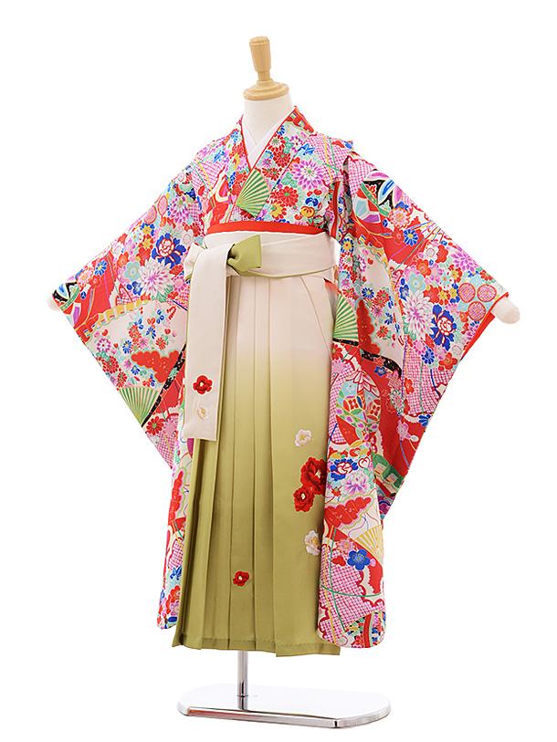 女児袴レンタル(7歳)7675 赤地 古典×クリームぼかし袴