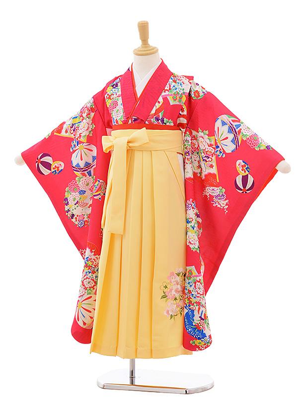 女児袴レンタル(7歳)7676ピンク地花丸まり×黄色袴 着物のみ式部クラシック