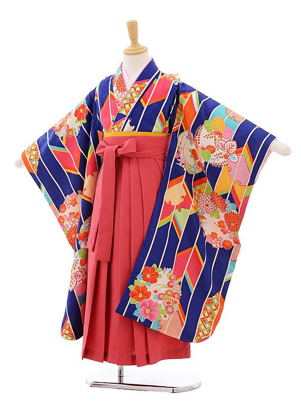 女児袴レンタル(7歳)7680 小町kids ブルー 矢柄に花丸×ピンク袴