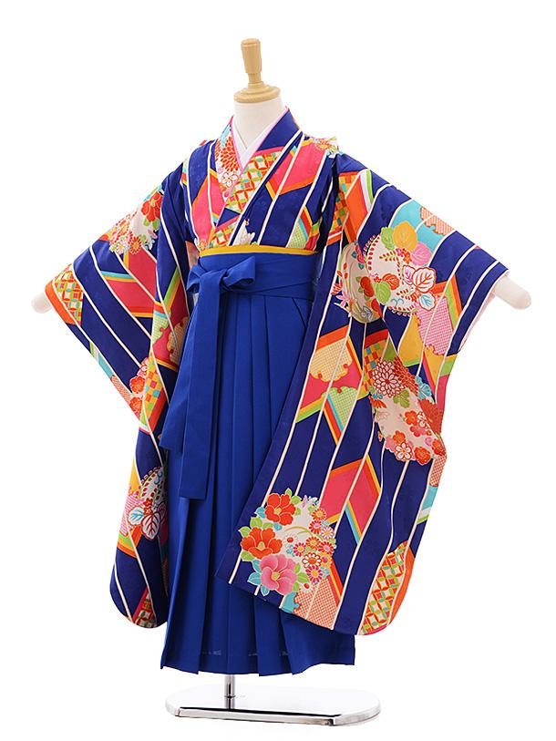 女児袴レンタル(7歳)7681 小町kids ブルー 矢柄に花丸×ブルー袴
