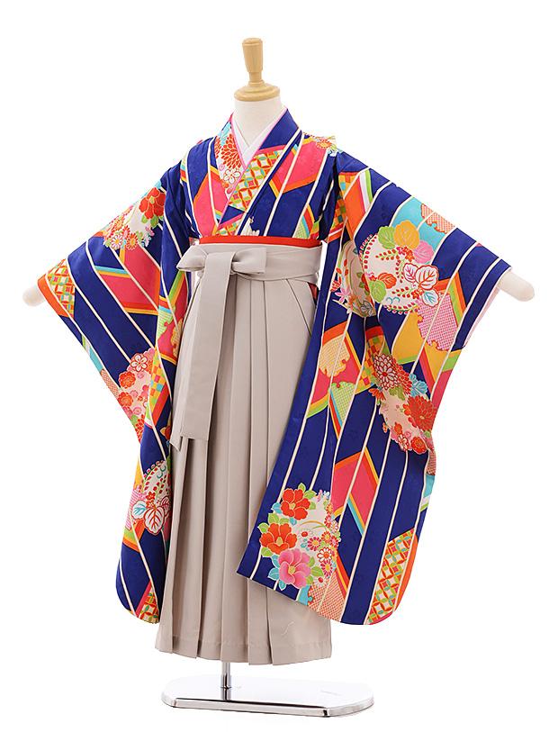 女児袴レンタル(7歳)7682小町kidsブルー矢柄に花丸×ベージュ袴