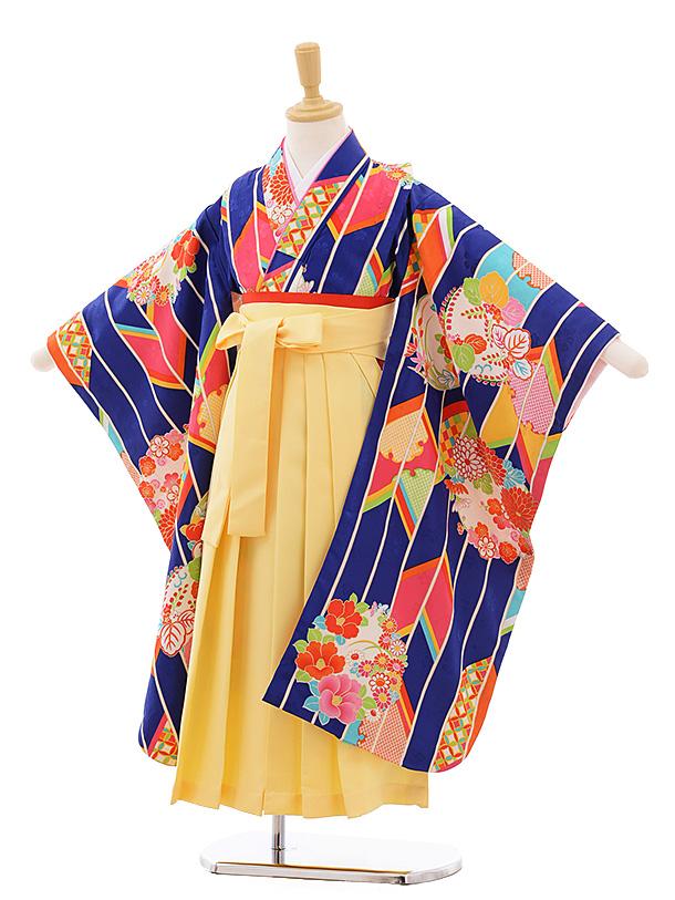 女児袴レンタル(7歳)7683 小町kids ブルー 矢柄に花丸×黄色袴