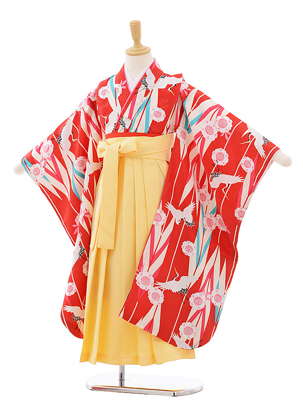 女児袴レンタル(7歳)7687 小町kids 赤地 矢柄 桜鶴×黄色袴