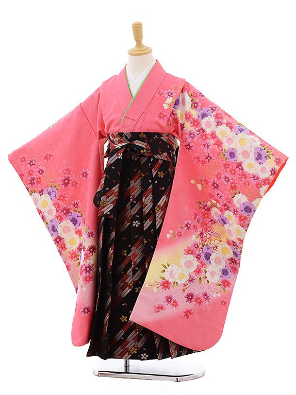 女児袴レンタル(7歳)7689 ピンク地 花×黒地 赤矢柄袴