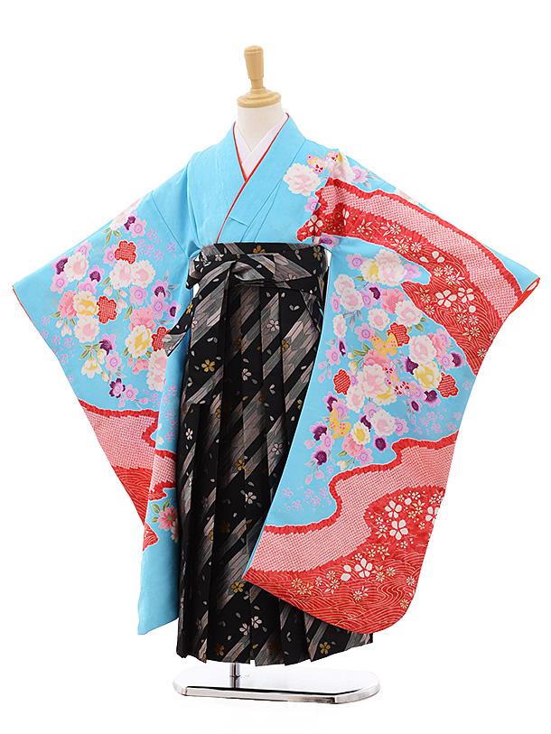 女児袴レンタル(7歳)7690 水色地 花×黒地 グレー矢柄袴