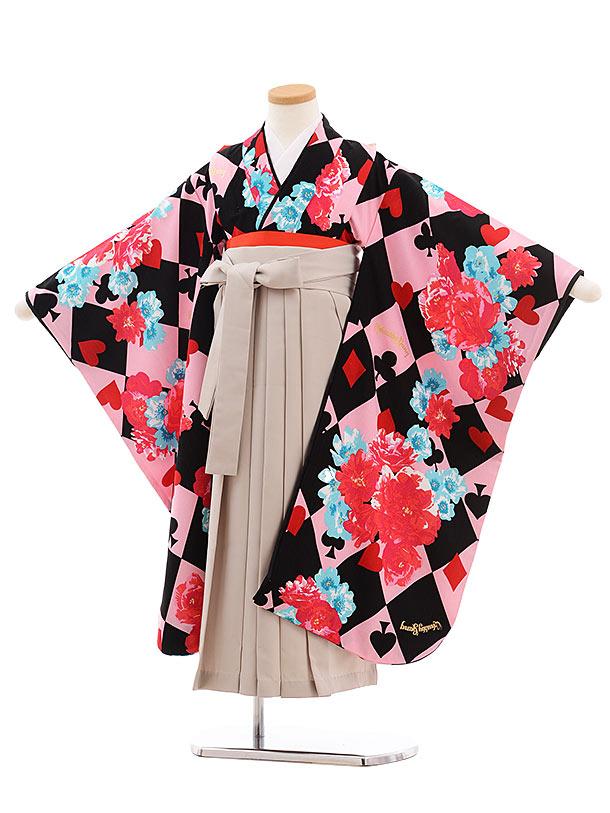 七五三(7歳女袴)Chubbygangピンクトランプ 花×グレージュ袴