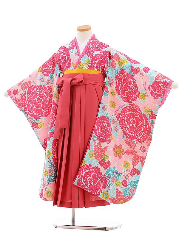 女児袴レンタル7歳 7771 メゾピアノ 白地 バラ×ピンク袴