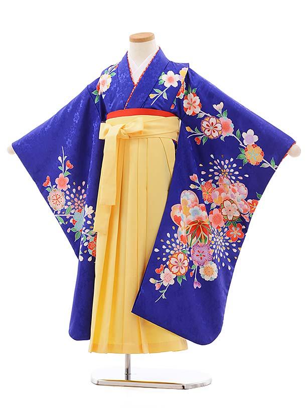 七五三(7歳女袴)7773 ブルー地 桜×きいろ袴