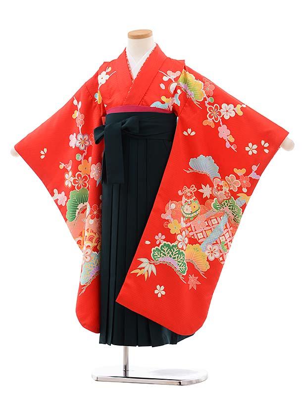 女児袴レンタル(7歳)7774 赤地 松竹梅 まり×グリーン袴