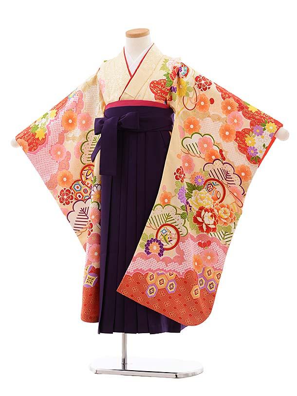 女児袴レンタル(7歳)7776 クリーム地 雲取 ぼたん×パープル袴