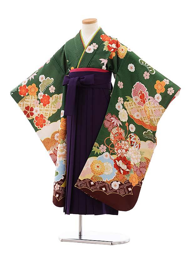 七五三(7歳女袴)7778 グリーン地 扇 ぼたん まり×パープル袴