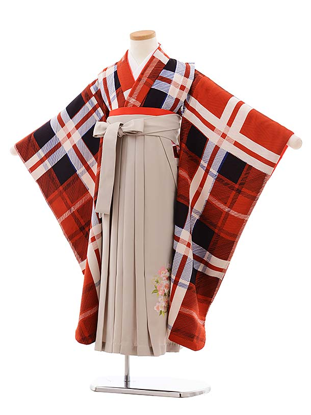 女児袴レンタル(7歳)7780 LILLI赤チェック×グレージュ袴