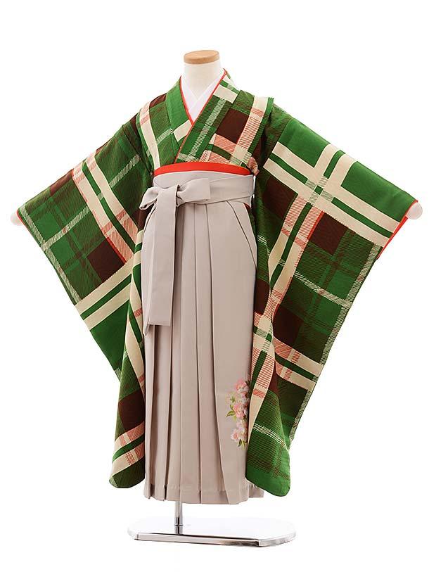 七五三(7歳女袴)7781 LILLIグリーンチェック×グレージュ袴