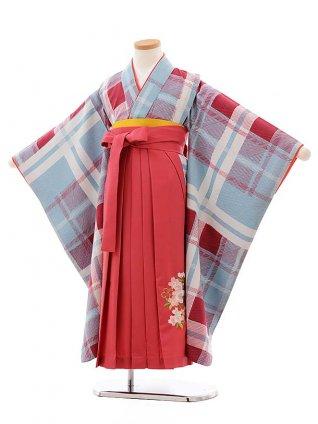 女児袴レンタル(7歳)7782 LILLIブルーグレーチェック×ピンク袴